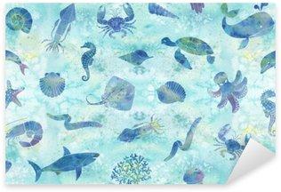 Sticker - Pixerstick Seamless marine background