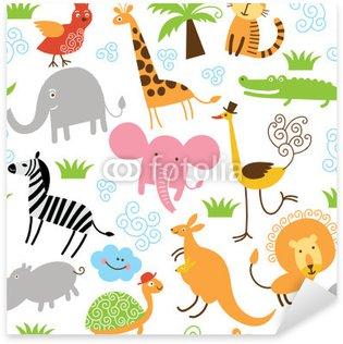 Sticker Pixerstick Seamless pattern avec des animaux marrants