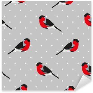 Seamless pattern in polka dot with bullfinch. Ornament for textile and wrapping. Vector background. Sticker - Pixerstick