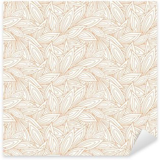 Sticker Pixerstick Seamless pattern mignon avec le rouge contour des feuilles d'automne sur le fond blanc (transparent). Vector illustration