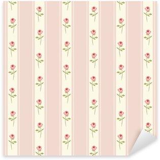 Sticker Pixerstick Seamless pattern mignon Shabby Chic avec des roses et des points idéaux pour les textiles de cuisine ou d'un tissu de linge de lit, rideaux ou conception de papier peint intérieur, polka peut être utilisé pour la réservation de ferraille papier etc