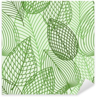 Sticker - Pixerstick Seamless pattern of spring outline reen leaves