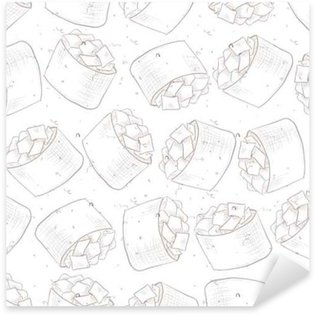Sticker - Pixerstick Seamless pattern of sushi