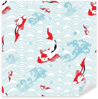 Sticker - Pixerstick Seamless pattern oriental texture with koi carp ; vector illustration