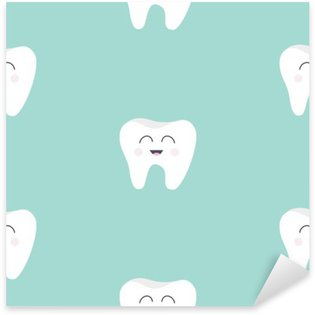 Sticker - Pixerstick Seamless Pattern Tooth health. Cute funny cartoon smiling character. Oral dental hygiene. Children teeth care. Baby texture. Flat design. Blue background.