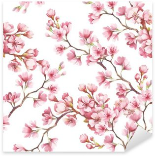Sticker - Pixerstick Seamless pattern with cherry blossoms. Watercolor illustration.