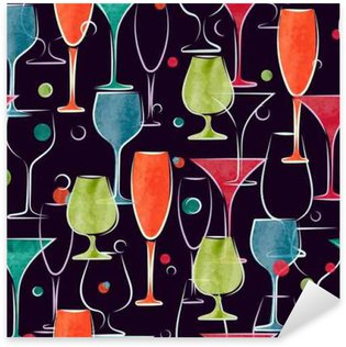 Sticker - Pixerstick Seamless pattern with colorful watercolor cocktail glasses. Vector background.