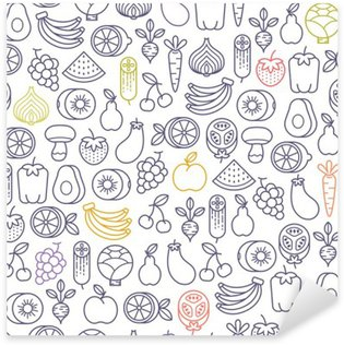 seamless pattern with fruits and vegetables icons Sticker - Pixerstick