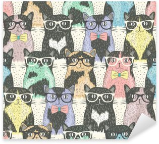 Sticker - Pixerstick Seamless pattern with hipster cute cats for children