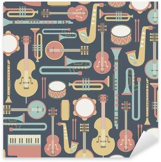 Sticker - Pixerstick seamless pattern with music instruments. on dark background