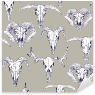 Sticker - Pixerstick Seamless pattern with skulls of deer, bull, goat and sheep. Line drawing of skulls. Mystical background for your design.