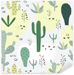 Seamless pattern with succulents. Sticker - Pixerstick