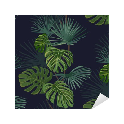 Seamless pattern with tropical leaves. Hand drawn background. Sticker - Pixerstick