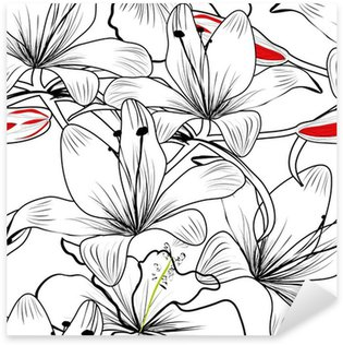 Sticker Pixerstick Seamless pattern with white flowers lily