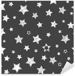 Seamless pattern with white stars on black background. Stylish p Sticker - Pixerstick