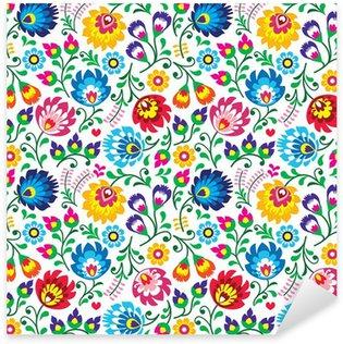 Sticker Pixerstick Seamless Polish folk art floral pattern
