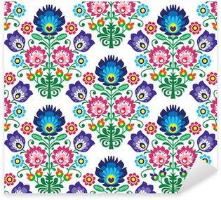 Sticker Pixerstick Seamless polonais, slave art populaire motif floral - lowickie Wzory