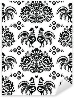 Sticker Pixerstick Seamless polonais, slave motif d'art folklorique noir avec coqs