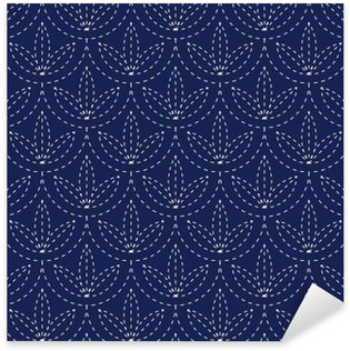 Sticker Pixerstick Seamless porcelaine bleu indigo et blanc motif vecteur japonais sashiko kimono cru
