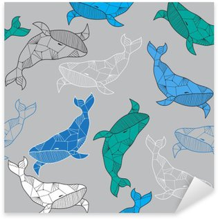 Sticker - Pixerstick Seamless sea pattern with hand drawn whales