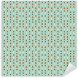 Sticker - Pixerstick Seamless texture. Autumn. Depicts raindrops three colors: beige, black and red . Drops on a blue background.