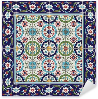 Sticker Pixerstick Seamless Tles et frontière. Marocain, portugais, turc, ornements Azulejo.