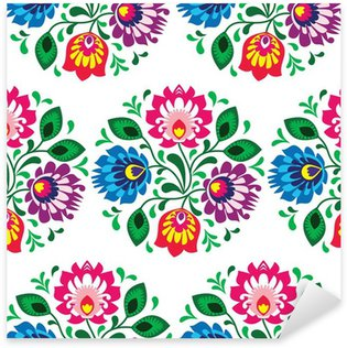 Seamless traditional floral pattern from Poland on white