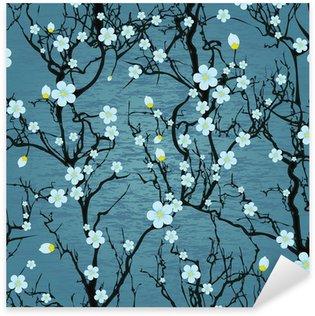 Seamless tree pattern. Japanese cherry blossom Sticker - Pixerstick