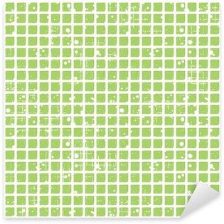 Sticker Pixerstick Seamless vecteur de damier. fond vert géométrique Creative avec des carrés. Grunge texture avec attrition, les fissures et ambrosia. Old style design vintage. Illustration graphique.