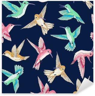 Sticker Pixerstick Seamless vecteur voler petits oiseaux de paradis modèle conversationnel multi couleur, le temps du printemps d'été, doux romantique colibri, fond colibri allover conception d'impression