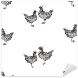 Sticker Pixerstick Seamless vector pattern avec des poules et des poussins.