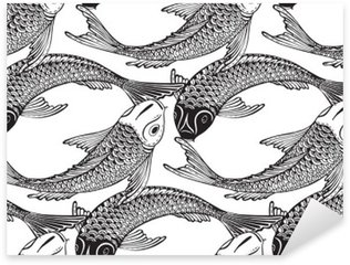 Sticker Pixerstick Seamless vector pattern avec la main dessinée poissons Koi