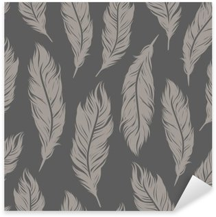 Seamless vector pattern with gray feather symbols Sticker - Pixerstick