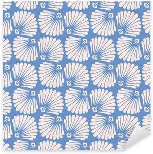 seamless vintage pattern with stylized seashells Pixerstick Sticker