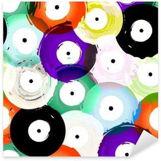 Sticker - Pixerstick seamless vinyl records background pattern, vector illustration
