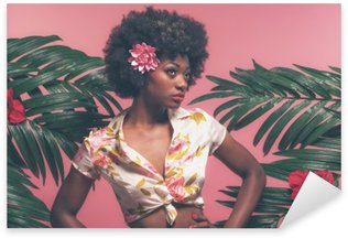 Sensual Afro American Pin-up Between Palm Leaves. Against Pink B Pixerstick Sticker