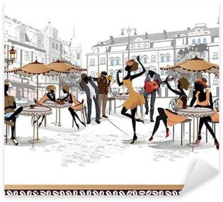 Sticker Pixerstick Série de vues des rues de la vieille ville avec des cafés