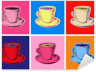 set of coffee mug vector illustration pop art style Sticker - Pixerstick