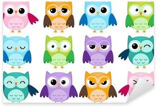 Pixerstick Sticker Set van 12 cartoon uilen met verschillende emoties