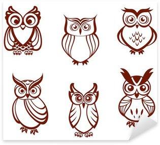 Pixerstick Sticker Set van cartoon uilen