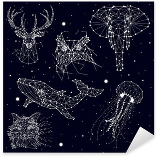 Pixerstick Sticker Set van constellatie, olifant, uil, herten, walvissen, kwallen, vos, ster, vector graphics