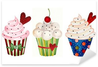 Pixerstick Sticker Set van cupcake. Aquarellen op papier