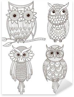 Pixerstick Sticker Set van leuke uilen.
