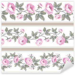 Pixerstick Sticker Set van naadloze bloemen grenzen met rozen