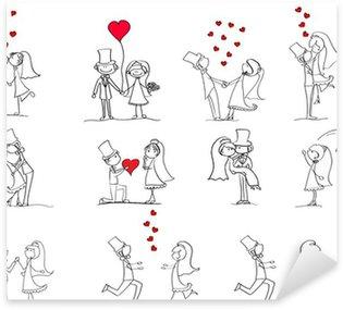 Pixerstick Sticker Set van trouwfoto's, bruid en bruidegom in de liefde, vector