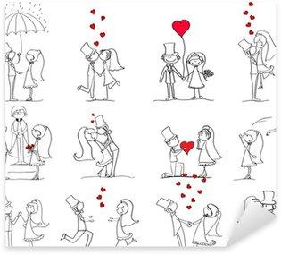 Pixerstick Sticker Set van trouwfoto's, bruid en bruidegom in de liefde