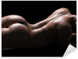 Sexy woman body, wet skin, black background Sticker - Pixerstick