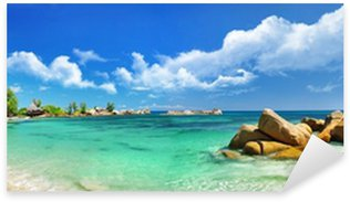 Sticker Pixerstick Seychelles, beach panorama