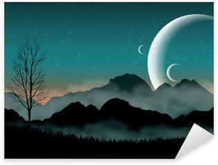 Sticker Pixerstick SF espace ciel de nuit avec des montagnes silhouette et planètes proches