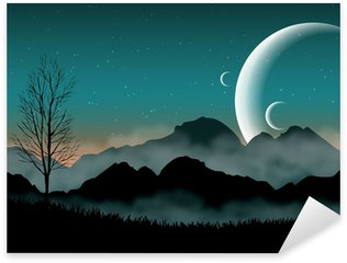Sticker - Pixerstick SF space night sky with silhouette mountains and close planets